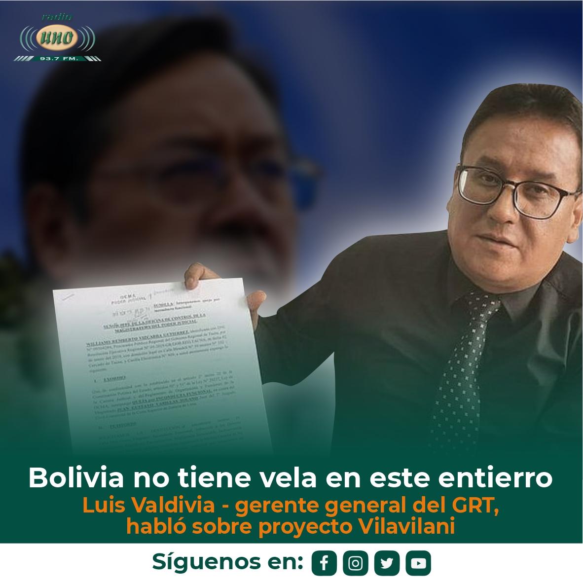 Luis Valdivia, gerente general del GRT, habló sobre proyecto Vilavilani y dijo que Bolivia no tiene vela en este entierro