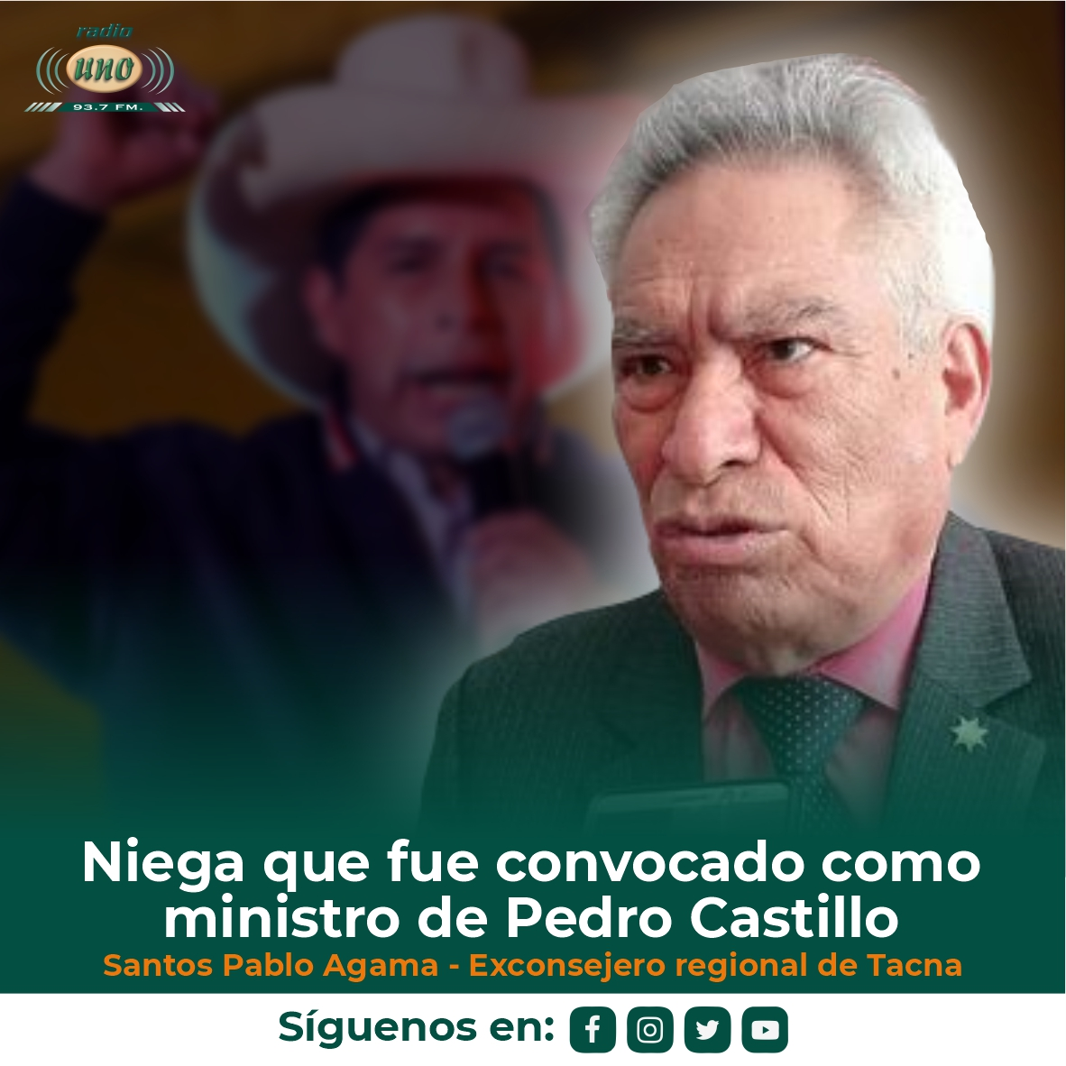 Santos Pablo Agama niega que fue convocado como ministro de Pedro Castillo