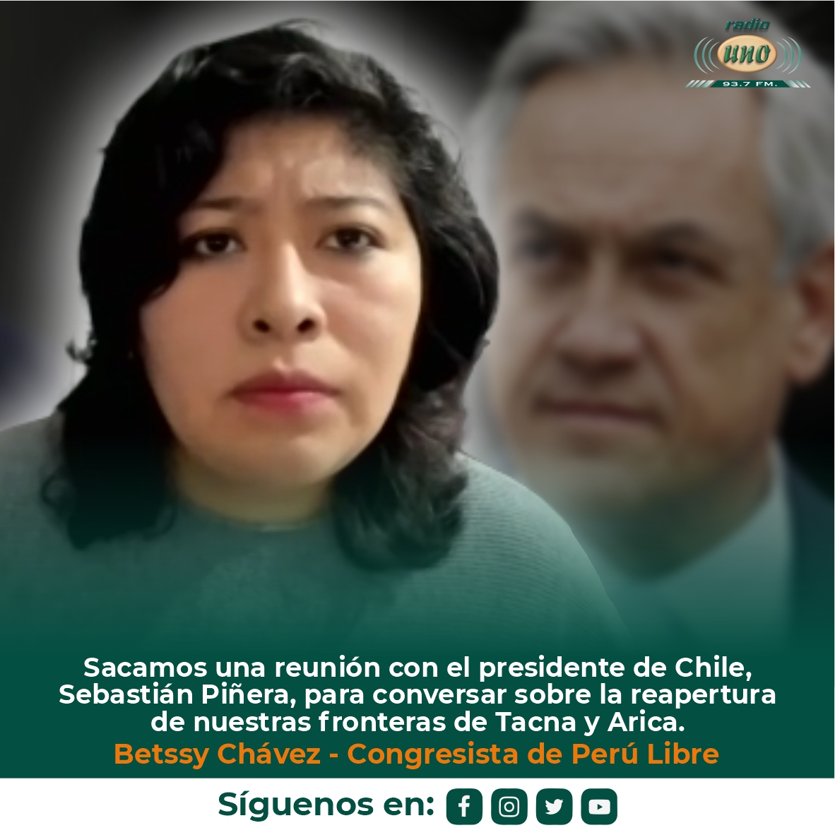 Sacamos una reunión con el presidente de Chile, Sebastián Piñera, para conversar sobre la reapertura de nuestras fronteras de Tacna y Arica