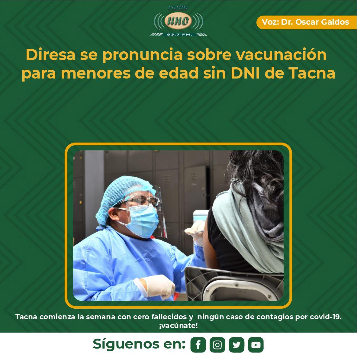 Diresa se pronuncia sobre vacunación para menores de edad sin DNI de Tacna