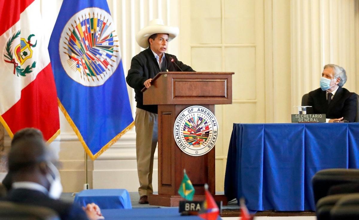 Castillo en la OEA: «No somos comunistas, no hemos venido a expropiar a nadie»