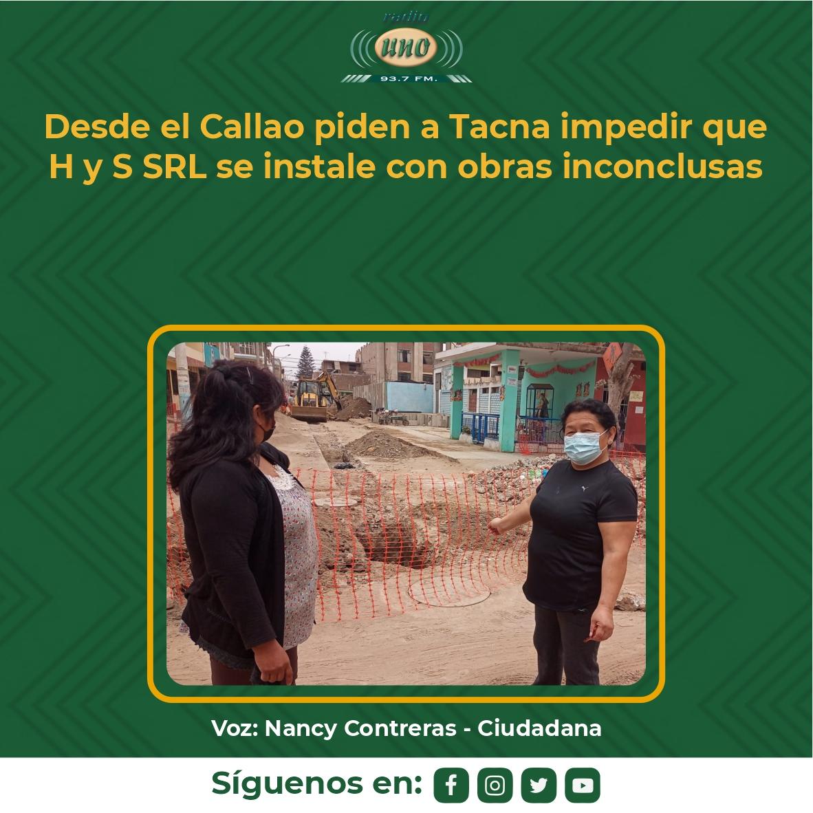 Desde el Callao piden a Tacna impedir que H y S SRL se instale con obras inconclusas