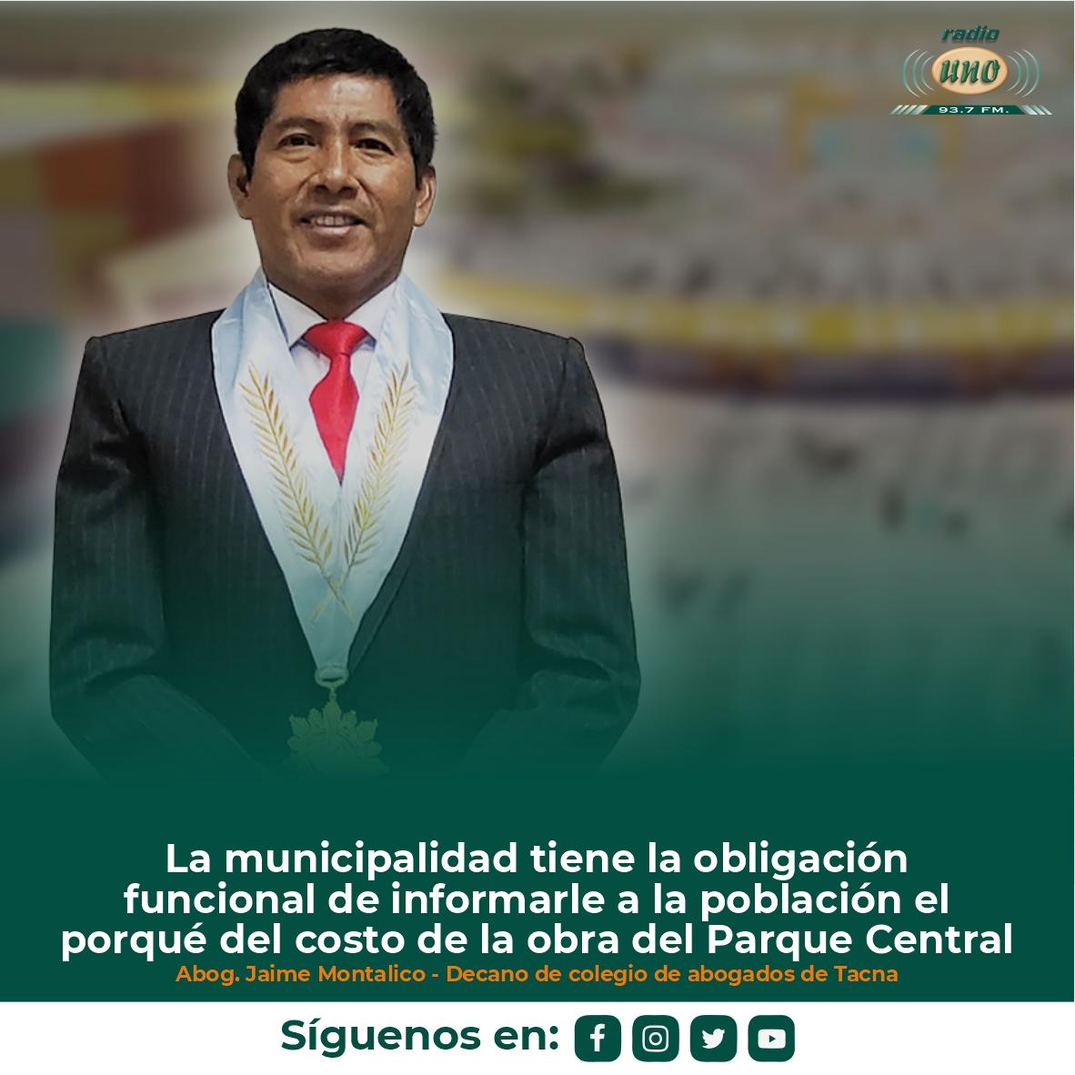 La municipalidad tiene la obligación funcional de informarle a la población el porqué del costo de la obra del Parque Central