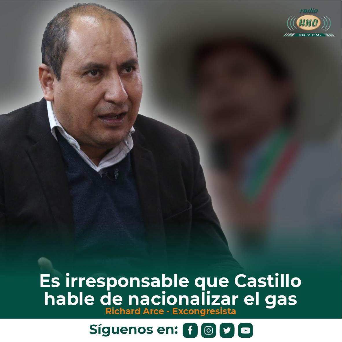 Es irresponsable que Castillo hable de nacionalizar el gas